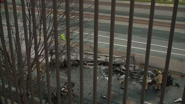 What remained of a semi-truck after a fire on South Outer I-70 Monday (Credit: KMOV)