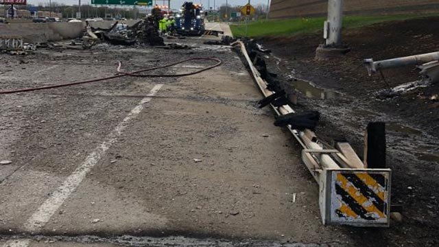 A semi-truck fire damaged a portion of South Outer I-70 (Credit: MoDOT St. Louis Area / Twitter)