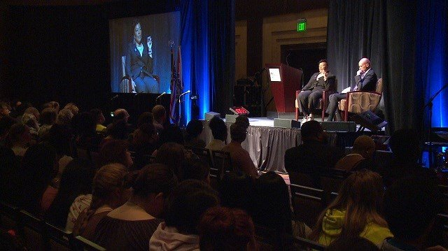 Bernice King, daughter of MLK, speaks to a group of realtors about the Fair Housing Act of 1968. (Credit: KMOV)