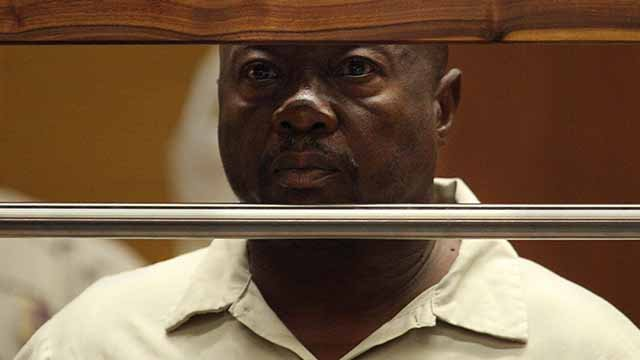 """In this July 8, 2010 filer photo, Lonnie David Franklin Jr. appears for arraignment on multiple charges as the alleged """"Grim Sleeper"""" killer, in Los Angeles Superior Court.  (AP Photos)"""