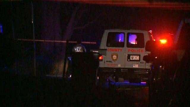 St. Louis County Police in the 1100 block of Northdale after a triple homicide Wednesday (Credit: KMOV)
