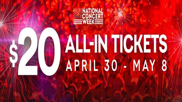 Live Nation announced 'National Concert Week' will take place April 30 through May 8 with an exclusive $20 all-in ticket offer for fans to celebrate the kickoff of its biggest summer season. (Credit: LiveNation)