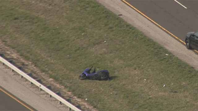 Police said a motorcyclist was thrown from his bike in the Metro East, suffering serious head injuries. Credit: KMOV