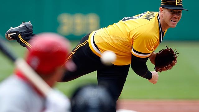 Pittsburgh Pirates starting pitcher Nick Kingham delivers in the third inning of his first major league start in a baseball game against the St. Louis Cardinals in Pittsburgh, Sunday, April 29, 2018. (AP Photo/Gene J. Puskar)