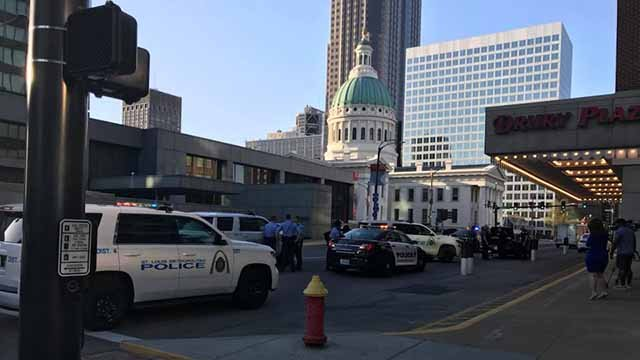 Four people were arrested after a chase ended near the Old Courthouse in downtown St. Louis Monday evening, police said. Credit: KMOV
