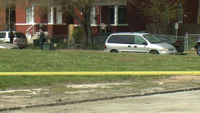 Police near the 5300 block of Ridge Avenue after a man was shot Tuesday (Credit: KMOV)