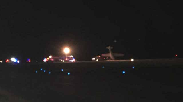 A plane landed on its nose at Spirit of St. Louis Airport in Chesterfield Tuesday night. Credit: KMOV
