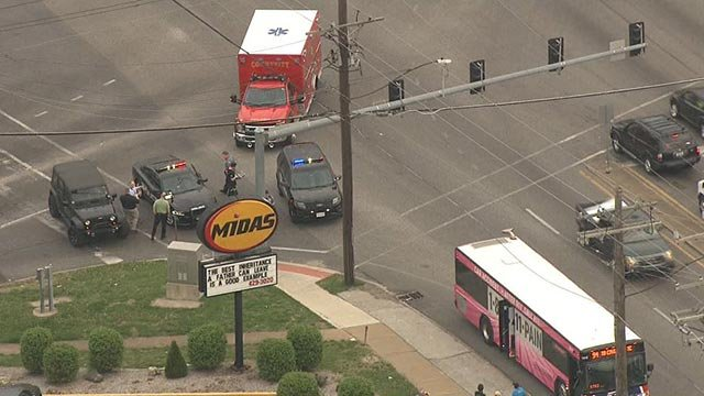 Police at Page & Woodson after an assault on a Metro Bus (Credit: KMOV)