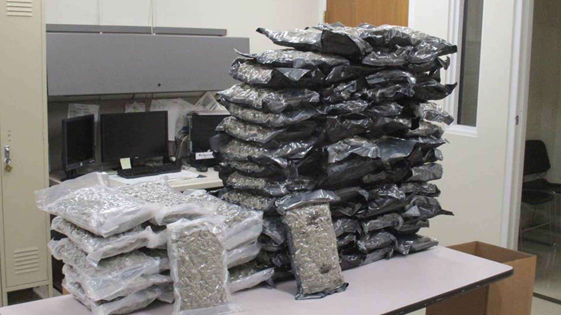 ) The Shrewsbury Police Department found 70 pounds of marijuana while investigating a suspicious vehicle.  (Credit: Shrewsbury Police Department)