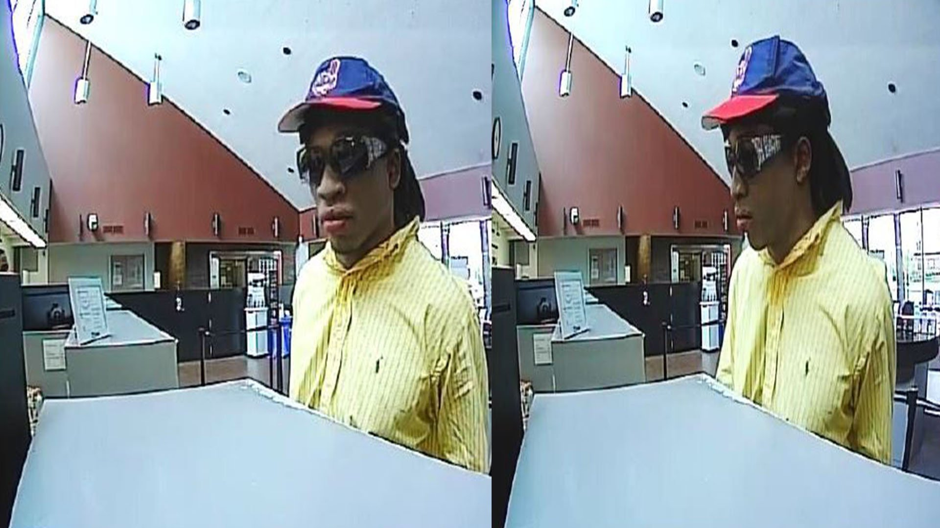 The St. Louis County Police Department is asking for the public's assistance with identifying a suspect who robbed a North County bank.(Credit: KMOV)