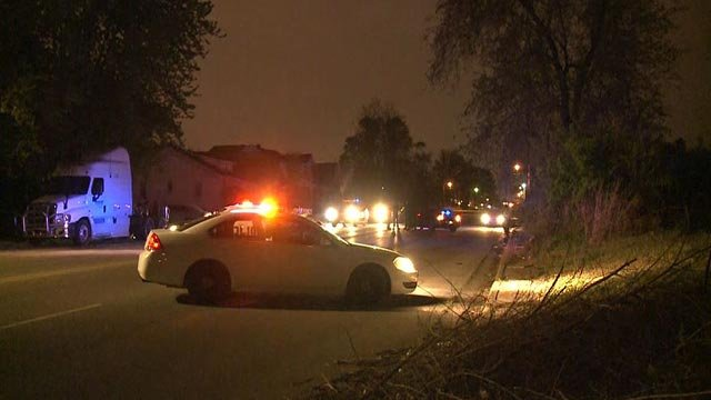 Police in the 1600 block of Martin Luther King Thursday morning after two people were shot (Credit: KMOV)