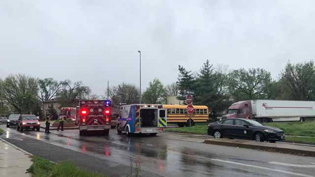 Around 30 students from Lyon Academy at Blow were on a school bus when a semi hit it in South City on Thursday. Credit: KMOV