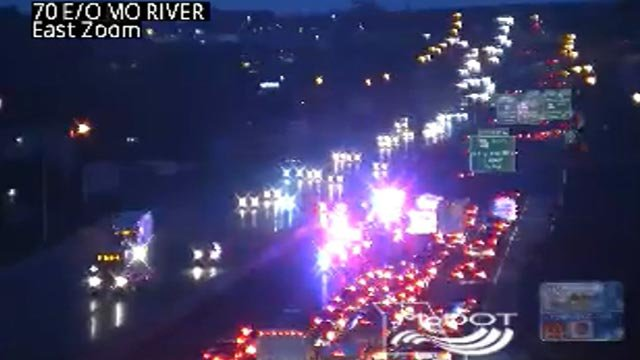 A crash on EB I-70 west of the Missouri River (Credit: MoDOT)