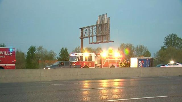 A Budget truck on its side Friday morning on EB I-70 (Credit: KMOV)