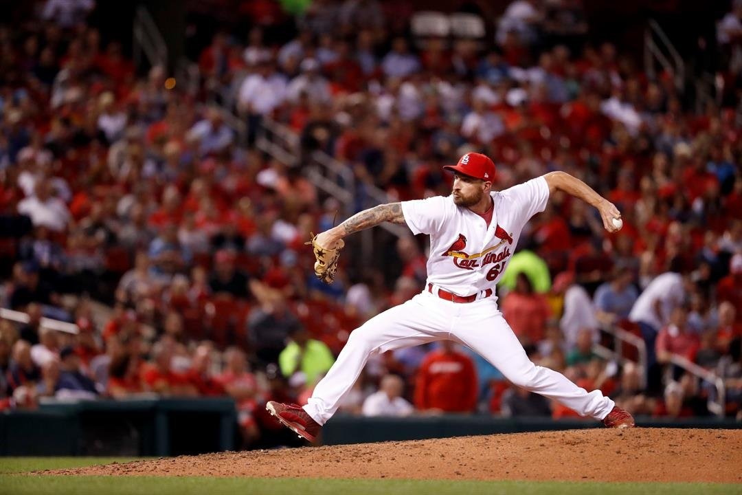 St. Louis Cardinals relief pitcher Ryan Sherriff throws during the fifth inning of a baseball game against the Cincinnati Reds Wednesday, Sept. 13, 2017, in St. Louis. (AP Photo/Jeff Roberson)