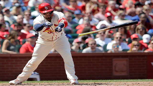 St. Louis Cardinals' Yadier Molina loses control of his bat as he strikes out to end the third inning of a baseball game Chicago Cubs Saturday, May 5, 2018, in St. Louis. (AP Photo/Charles Rex Arbogast)
