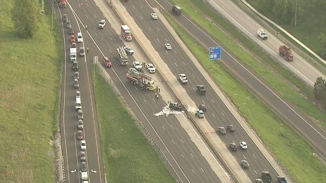 Traffic on SB I-270 was diverted after an SUV caught fire Monday (Credit: KMOV)
