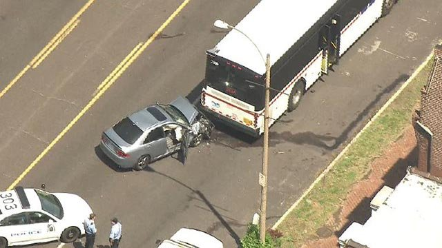 A car rear-ended a Metro bus in the 3500 block of South Jefferson Monday (Credit: KMOV)