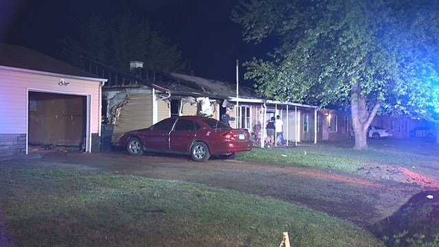 News 4 is on the scene of an early morning house fire that left two homes damaged in the Metro East. (Credit: KMOV)