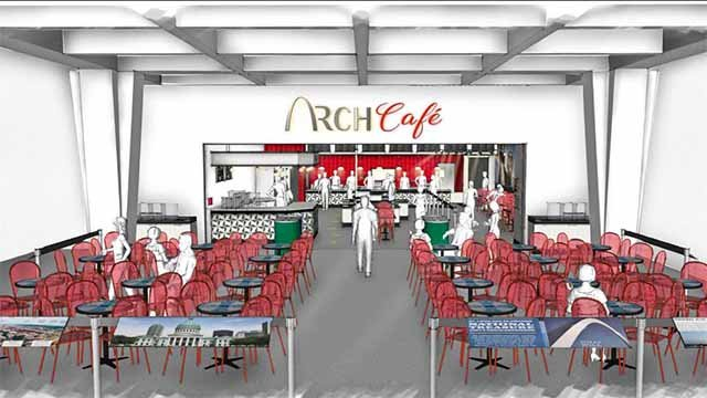 A rendering of the new cafe slated to open at the base of the Arch on July 4. Credit: Spiegelglass Construction. Credit: KMOV