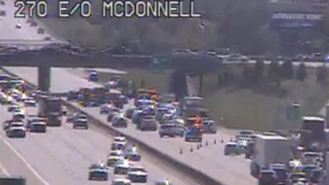 A multi-vehicle accident has shut down all lanes of westbound I-270 at McDonnell Blvd (Credit: KMOV)