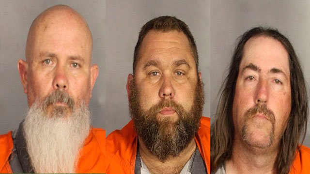 Jeff Battey (left), Glenn Walker (center), Ray Allen (right) were arrested during the motorcycle gang related shooting at the Twin Peaks restaurant in Waco, Texas (Credit: AP Images)