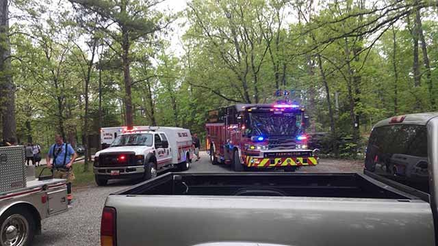 A teen from De Soto injured his back when he fell 60 feet off a rock bluff at the Pickle Springs conservation area. Credit: Wolf Creek Fire Department