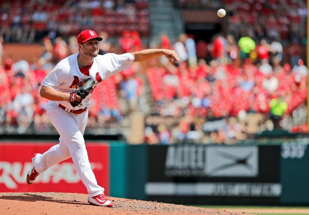 St. Louis Cardinals relief pitcher Tyler Lyons throws during the seventh inning of a baseball game against the Minnesota Twins Tuesday, May 8, 2018, in St. Louis. (AP Photo/Jeff Roberson)