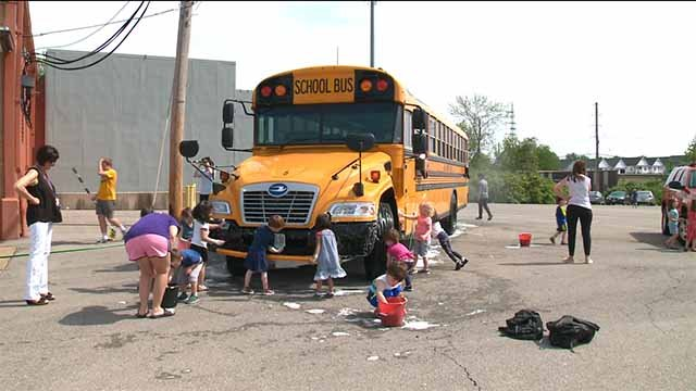 A unique car wash was held in South County Friday to teach preschoolers the value of service. Credit: KMOV