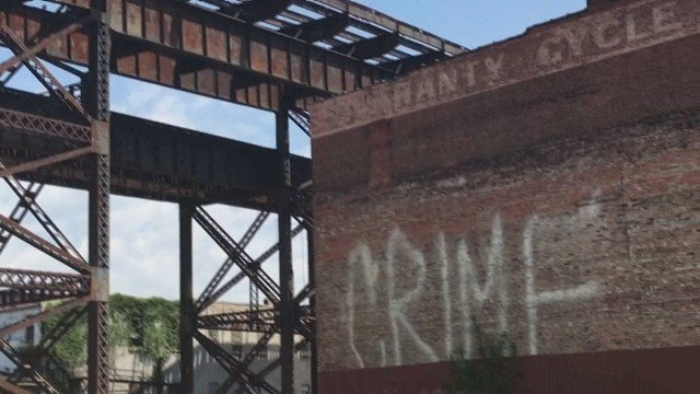 Graffiti on a building at the southern edge of downtown St. Louis. Credit: KMOV