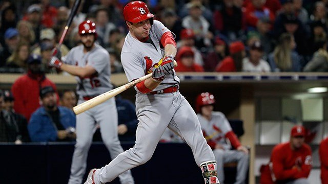 St. Louis Cardinals' Jedd Gyorko hits a home run during the third inning of a baseball game against the San Diego Padres, Friday, May 11, 2018, in San Diego. (AP Photo/Gregory Bull)