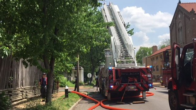 Emergency crews on scene after person has died after a fire broke out in a two-story home.( Credit: KMOV)