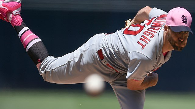 St. Louis Cardinals starting pitcher Adam Wainwright throws to San Diego Padres' Travis Jankowski during the first inning of a baseball game in San Diego, Sunday, May 13, 2018. (AP Photo/Kelvin Kuo)