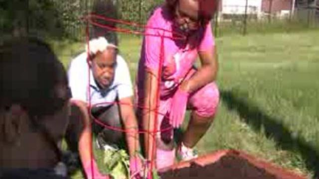 Girls in the 'Throwing and Growing' program planting (Credit: KMOV)