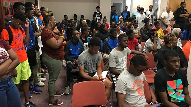 Athletes and supporters at the East St. Louis Board meeting Monday morning (Credit: Ray Preston / News 4)