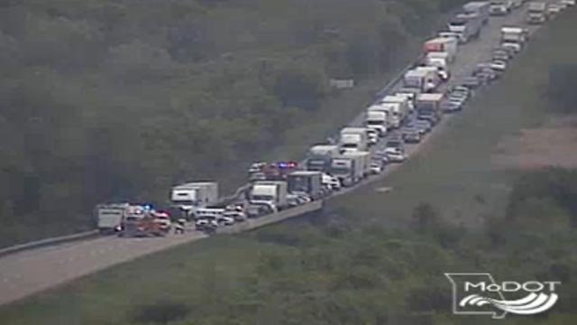 Emergency crews on WB I-70 at mile marker 168 (Credit: MoDOT)