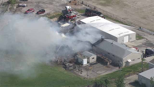 A fire broke out at a pallet supply company in Hazelwood Monday afternoon. Credit: KMOV