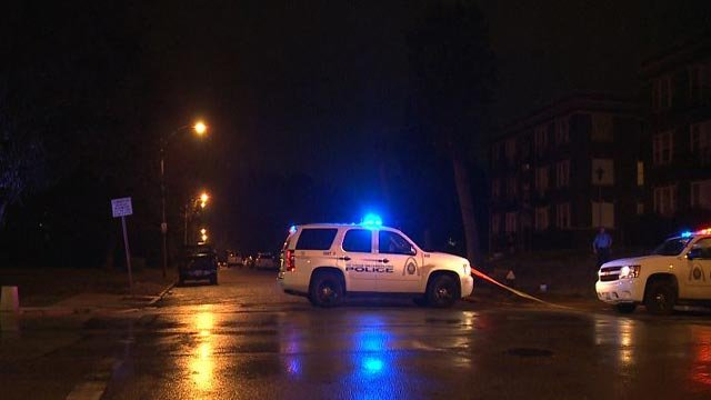 Police in the 5800 block of Cabanne Ave. after a man was shot early Tuesday (Credit: KMOV)