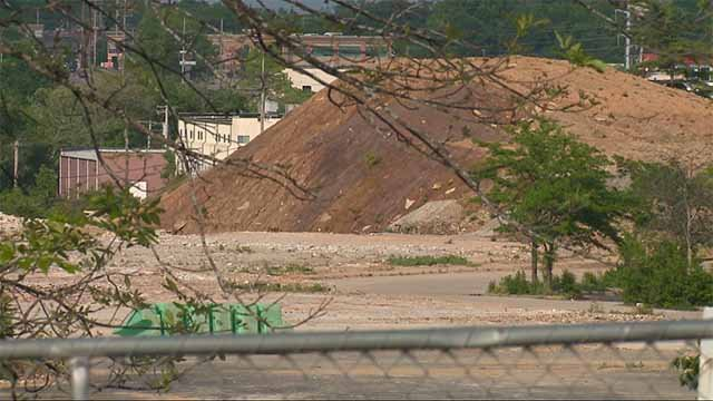 The sight of towering and sloping dirt piles for months are adding to the frustrations over the lack of development at the Crestwood Mall site. Credit: KMOV