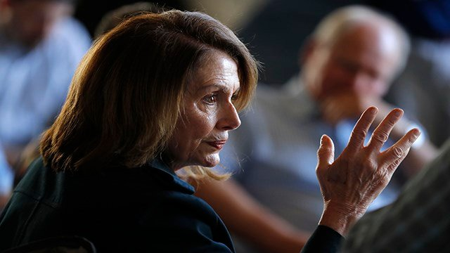 House Minority Leader Nancy Pelosi, D-Calif., speaks during a meeting with farmers, Monday, May 7, 2018, in Polk City, Iowa. (AP Photo/Charlie Neibergall)