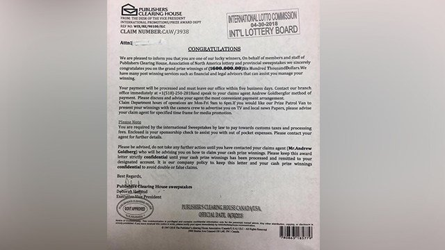 Jefferson County Sheriff's Office is warning residents if you receive a letter and a check from someone claiming to be associated with Publishers Clearing House, do not cash the check! (Credit: Jefferson County Sheriff's Office)