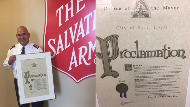 The Salvation Army was presented with a proclamation (Credit: The Salvation Army)