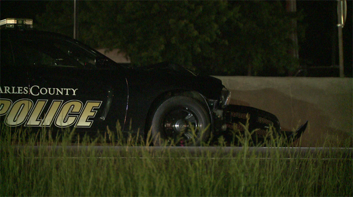 A St. Louis County police cruiser after a pedestrian was struck Wednesday (Credit: KMOV)