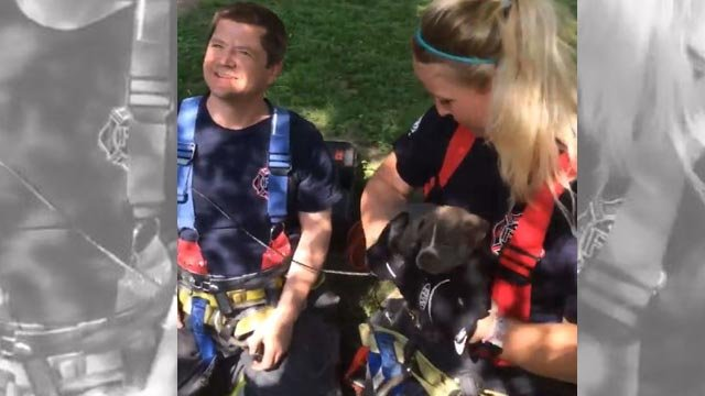 Firefighters in Ferguson rescued a puppy that was stuck in a pipe (Credit: Ferguson Fire Department / Facebook)