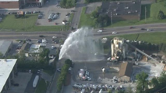 Water gushing into the air in Overland Thursday morning (Credit: KMOV)