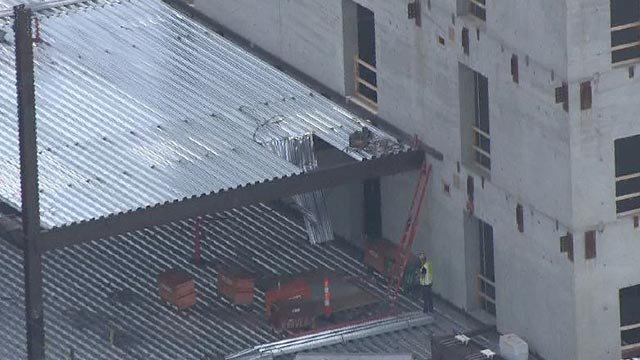 Aluminum flooring that appears to have given way at the Clayton Centene Building (Credit: KMOV)