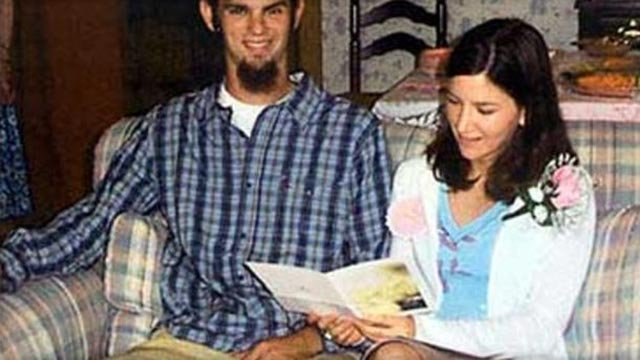 Jason Allen, left, of Michigan, and Lindsay Cutshall, of Ohio, are shown at their wedding shower in May 2004 at the home of Jason's parents, Bob and Dolores Allen, location unknown. (Credit: AP)