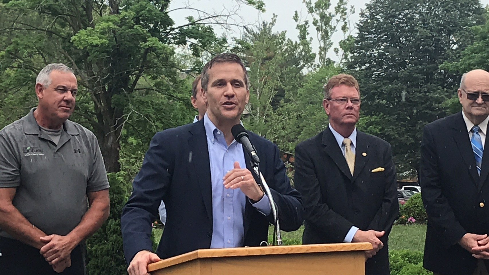 Governor Eric Greitens makes a public appearance in the Carnahan Memorial Garden next to the governor's mansion to talk about funding for farmers involved in the biodiesel industry.