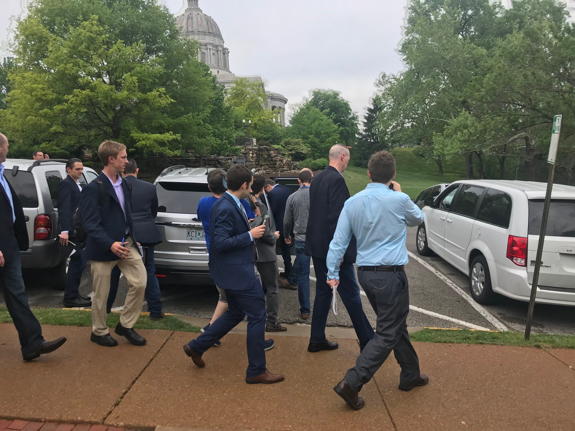 Missouri Governor Eric Greitens spoke at a public event about the bidiesel industry in Missouri and then left without taking any questions from reporters.