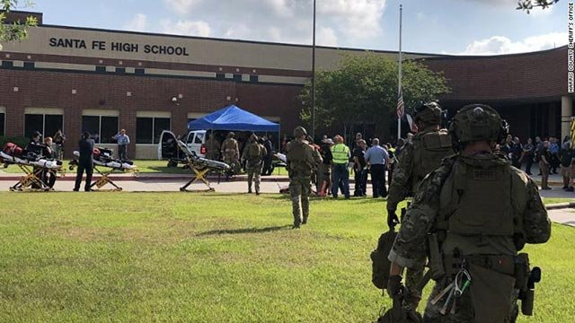 First responders at Santa Fe High School Friday morning (Credit: CNN)